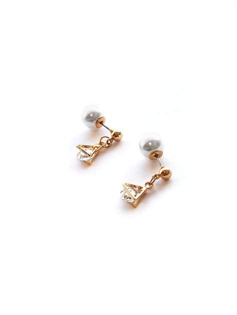 Pearl Triangle Earring back in stock kara triangle pearl back earrings in gold