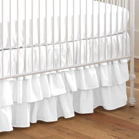 Solid White Crib Skirt Three Tier Carousel Designs Bed Skirts For Baby Cribs