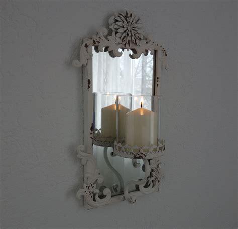 kerzenhalter spiegel shabbyllity wandspiegel mit kerzenhalter