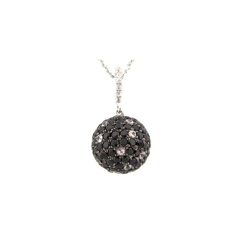 Wst 11021 Chain Necklace Black dilamani jewelry black spinel white sapphire pendant