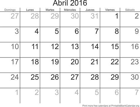 Calendario De Abril Abril 2016 Calendario Para Imprimir Calendarios Para