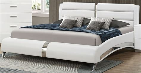 white platform bed queen jeremaine glossy white queen upholstered platform bed from coaster 300345q coleman