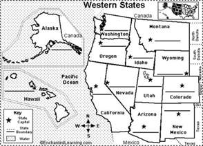 western us state capitals to label classroom
