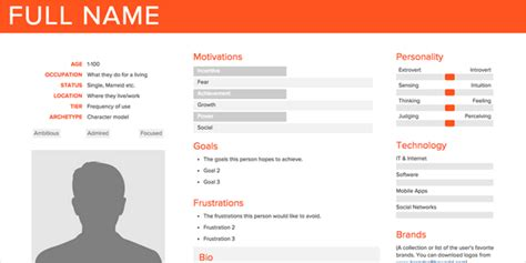 user persona card template how to easily create user personas designhooks