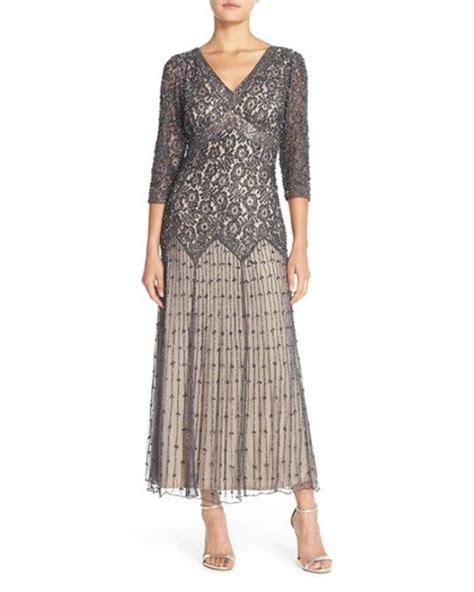 pisarro nights beaded drop waist dress pisarro nights gray beaded mesh drop waist dress lyst