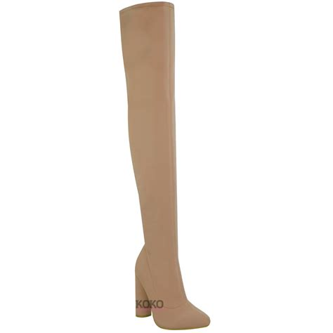 womens thigh high stretch lycra boots the knee