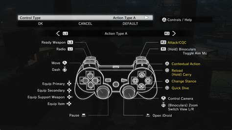 button layout for skyrim pc dualshock3 and 4 button icons at metal gear solid v