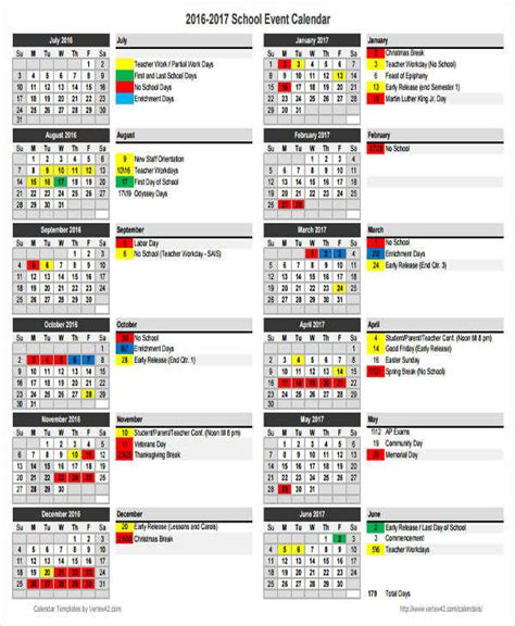 6 School Calendar Templates Exles In Word Pdf Sle Templates School Calendar Template