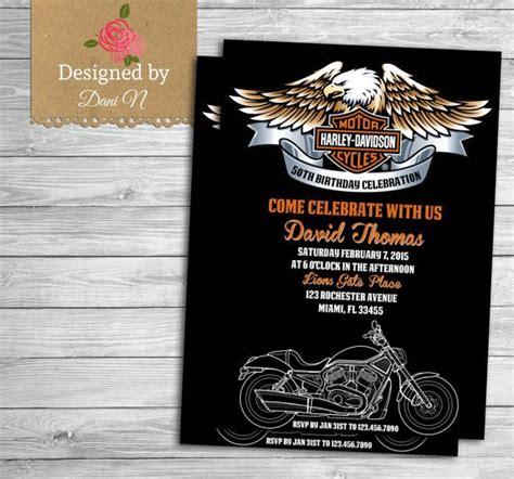 Motorcycle Harley Davidson Adult Birthday Invitation 50th Birthday Invite Orange And Black Harley Davidson Invitations Templates