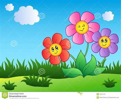 Three Cartoon Flowers On Meadow Royalty Free Stock