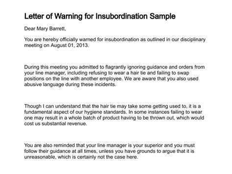 sle write up for employee insubordination just b cause