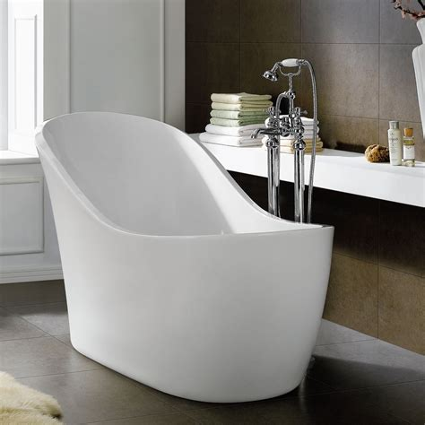 Home Tub Unique White Resin Soaking Tub With Steel Faucet Set