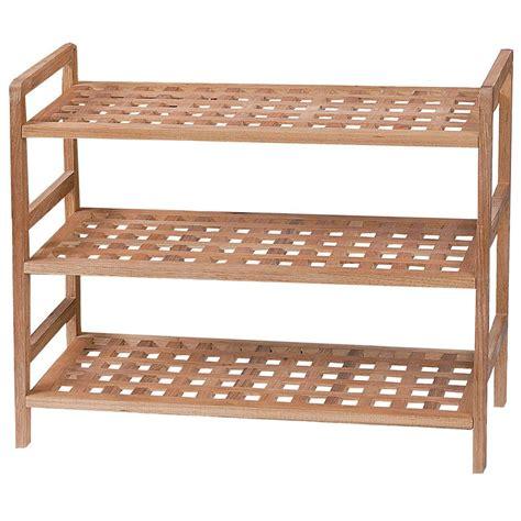 3 tier shoe storage stand 3 tier criss cross shoe rack stand walnut storage