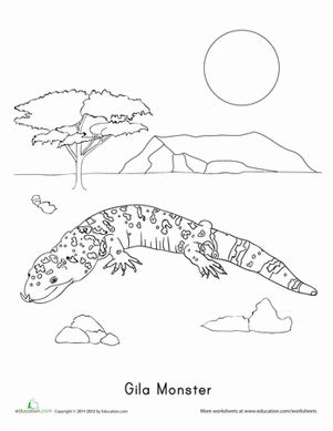 sw monster coloring page gila monster worksheet education com