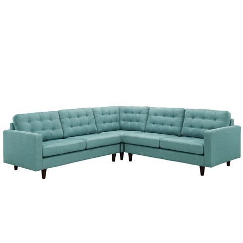 Empress 3 Piece Button Tufted Upholstered Sectional Sofa Laguna Sectional Sofa