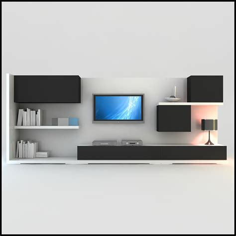tv wall units tv wall unit modern design x 15 3d models cgtrader