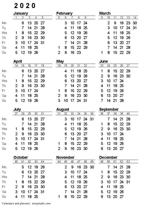 printable calendar  monday week start iso week numbers single page black planirovshchik