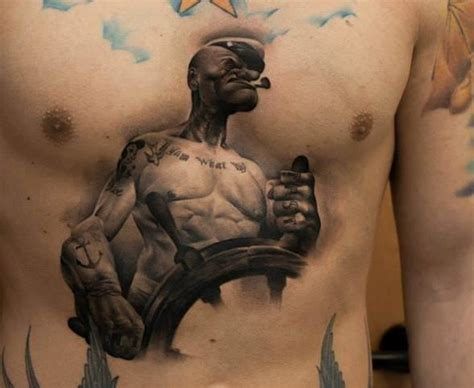 popeye 3d tattoo on men chest tattooshunt com