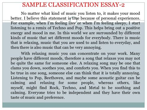 Sle Classification Essay division classification essay sles 28 images ms