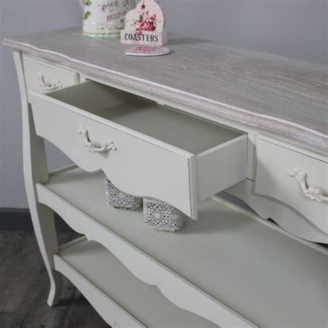 table with drawers and shelves console table with three drawers and shelves