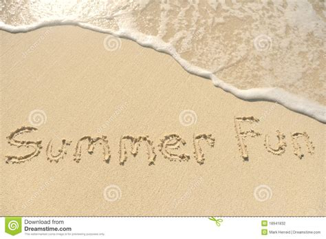 Fan Sanden summer written in sand on stock photography