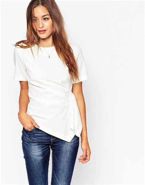 Origami Tops - asos origami structured t shirt in white ivory lyst