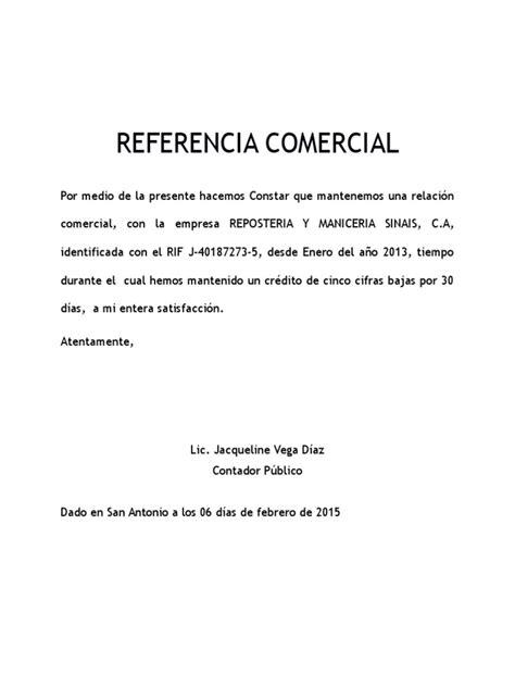 formato de referencias comerciales referencia comercial