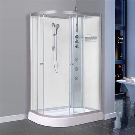 Bathroom Shower Cabins Aqualusso Alto 04 1200mm X 800mm Offset Shower Cabin Polar White At Plumbing Uk