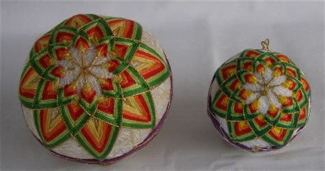 hand decorated thread covered styrofoam balls christmas