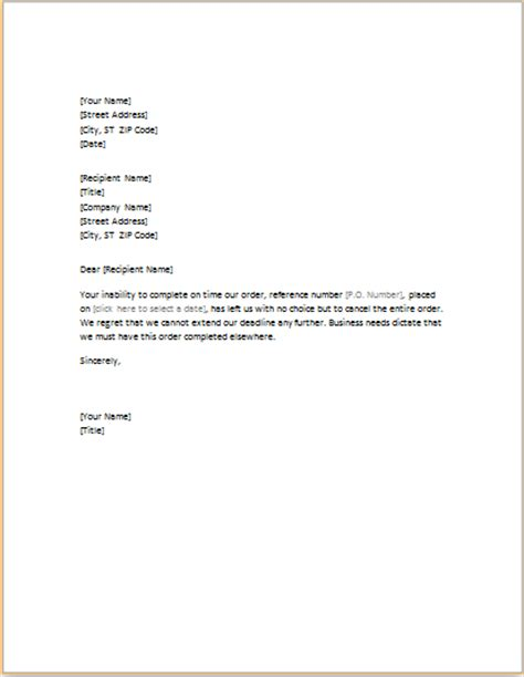 letter canceling unfilled order professional business letter templates formal word templates