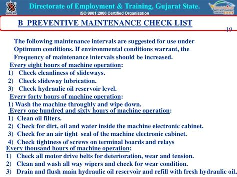 induction motor maintenance checklist cnc machine maintenance