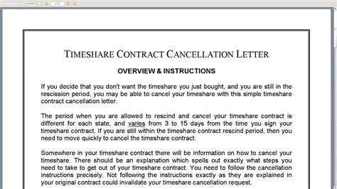 Rescind Contract Letter Sle Timeshare Contract Cancellation Letter