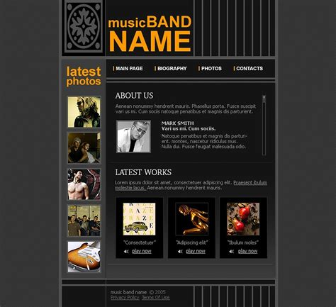 Music Band Website Template Web Design Templates Website Templates Download Music Band Band Website Templates