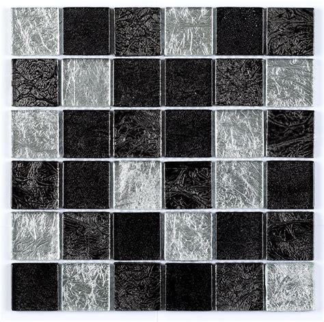 Mosaik Fliesen Schwarz by Black Silver Leaf Mix Glass Mosaic Tile