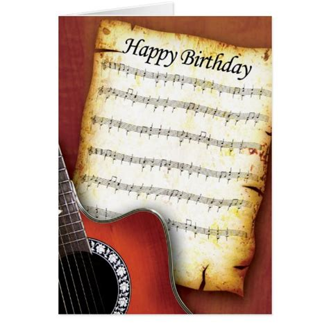 printable birthday cards with guitars accoustic guitar birthday greeting cards zazzle