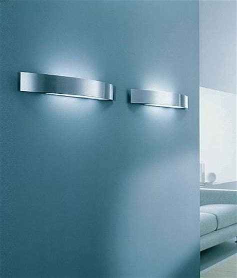 cfl modern wall light brushed steel