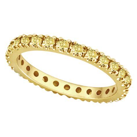 yellow sapphire eternity ring band 14k yellow gold 0 75ct
