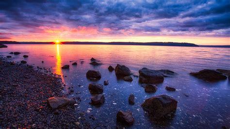 wallpaper  sunset sea stones rocks