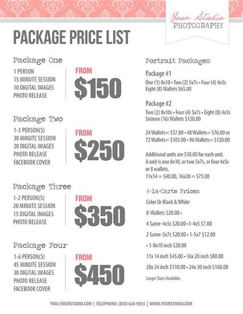 Photography Price List Pricing List For Photographers Price Sheet Package Price List Photo Package Template