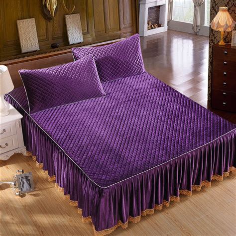 Bed Cover My Viola 180x200 new 2015 winter modern solid italy velvet quilted bed skirt purple soft ruffles bedspread bed