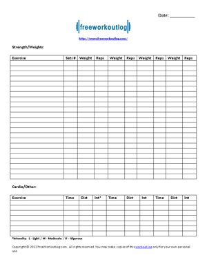 Free Printable Workout Log Template Freeworkoutlog Free Exercise Log Template