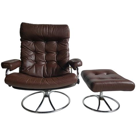 Ekornes Recliner Sale by Brown Leather Ekornes Stressless Lounge With Ottoman 1960