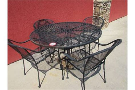 expanded metal patio furniture 48 quot wrought iron and expanded metal patio table and