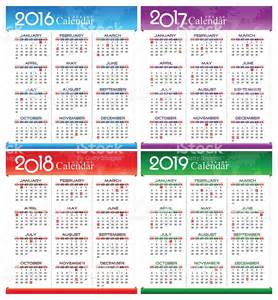 vector year of 2016 2017 2018 2019 calendar stock vector