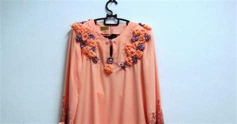 design baju bunga 3d baju nikah untuk di sewa baju kurung moden 2 warna peach