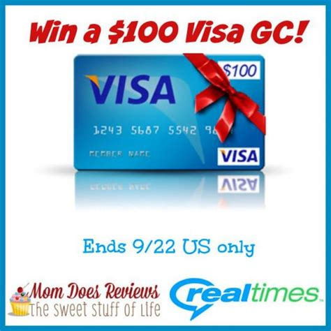 100 Visa Gift Card - 100 visa gift card giveaway sponsored by realtimes