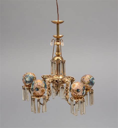 Dollhouse Chandelier Gorgeous 5 Arm 1 12 Scale Chandelier With Painted Globes Handcrafted By Don