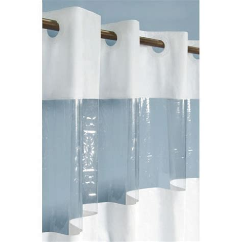 clear vinyl shower curtains hook free vinyl shower curtain with clear panel bathroom