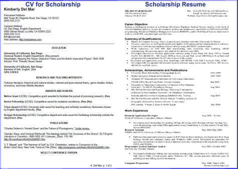 resume sle for scholarship resume ideas