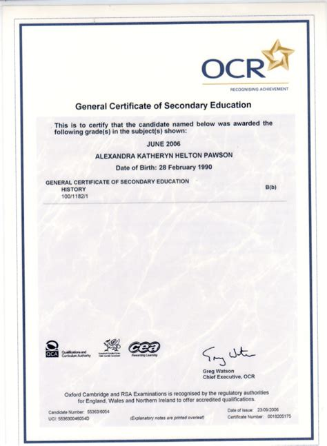 ocr gcse general certificate of secondary education